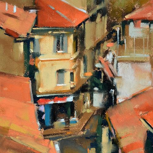 Sunlit Buildings, pastel - Desmond O'Hagan