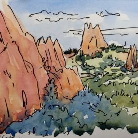 Garden of the Gods Ink & Watercolor