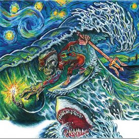 Colored Pencil drawing of skeleton surfer, shark and starry sky