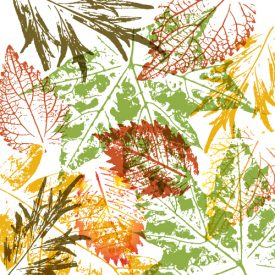 Yellow, orange, red, and green leaf prints