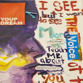collage with magazine clippings and paint