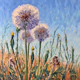 Oil painting of dandelions with a blue sky background