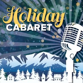 Holiday Cabaret over Pikes Peak with snow and vintage microphone