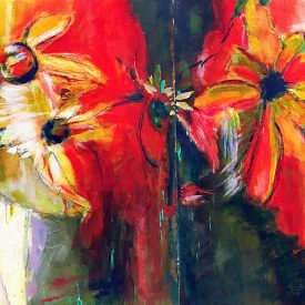 Abstract painting of flowers is warm tones