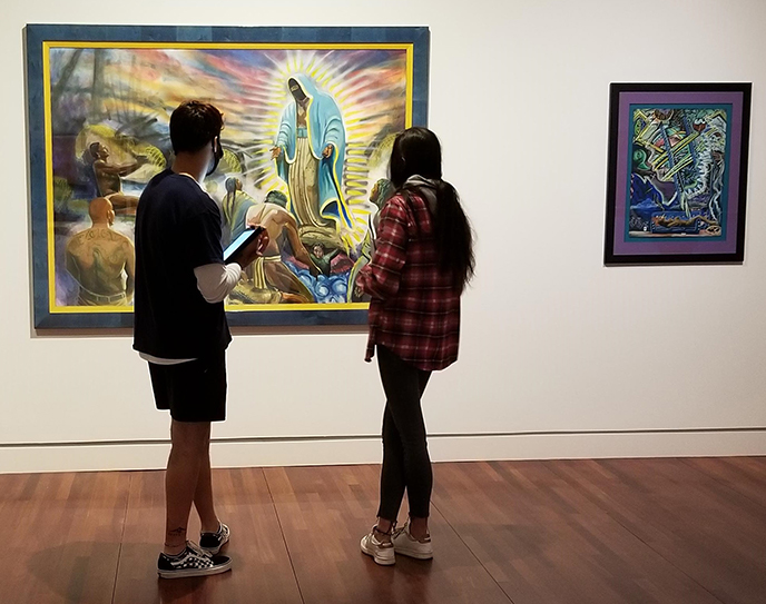 CC student in FAC museum gallery