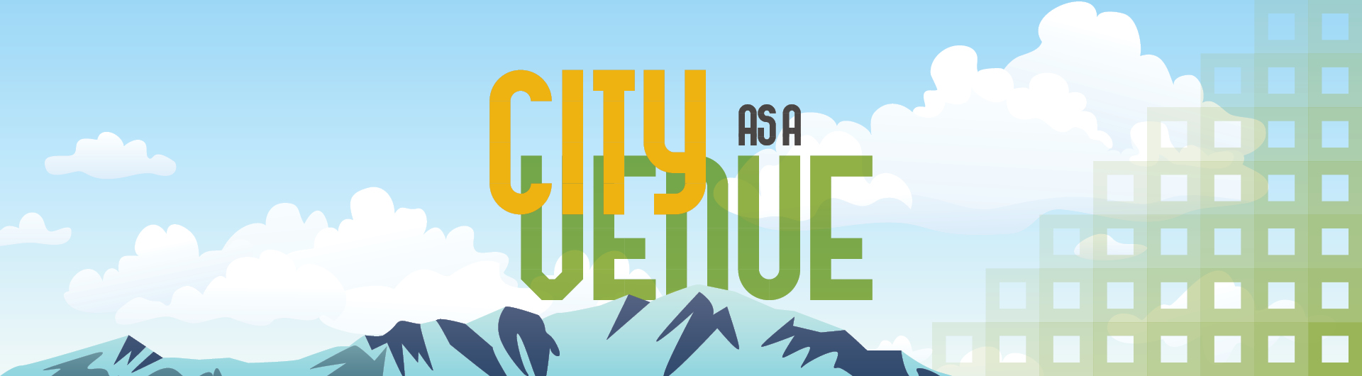 City as a venue logo with Pikes Peak