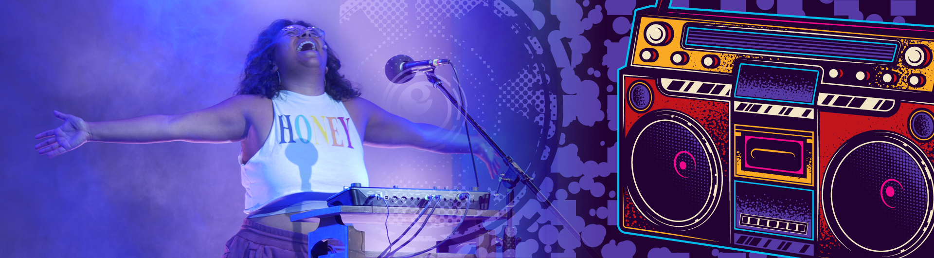 Actress singing with keyboard and boom box in purple tones