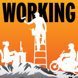 Working logo with silhouettes in foreground on top of Pikes Peak