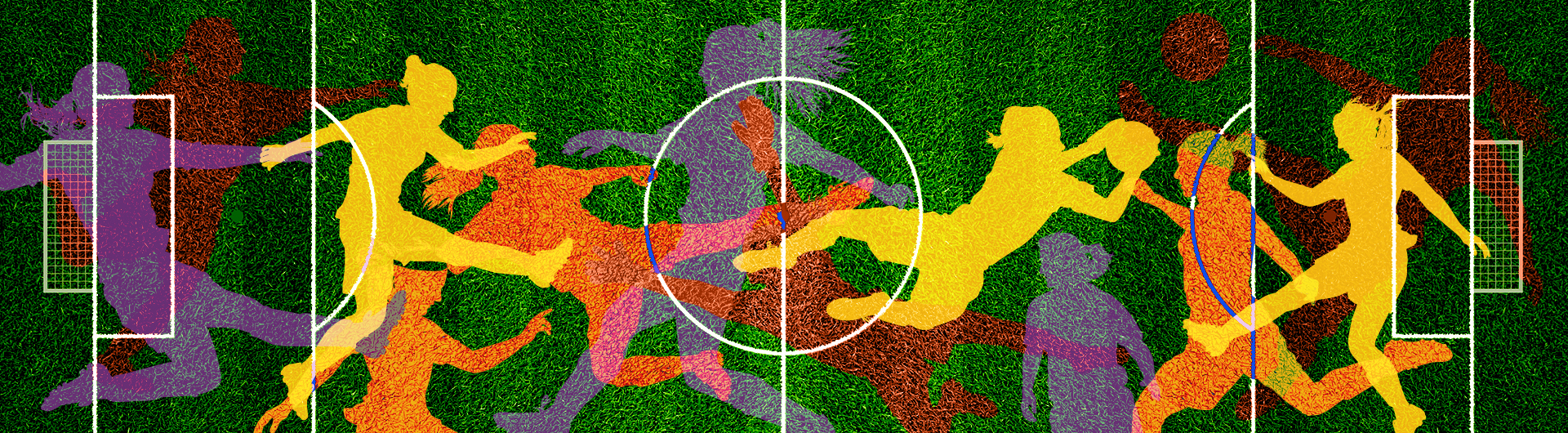 Female soccer players in vibrant colors