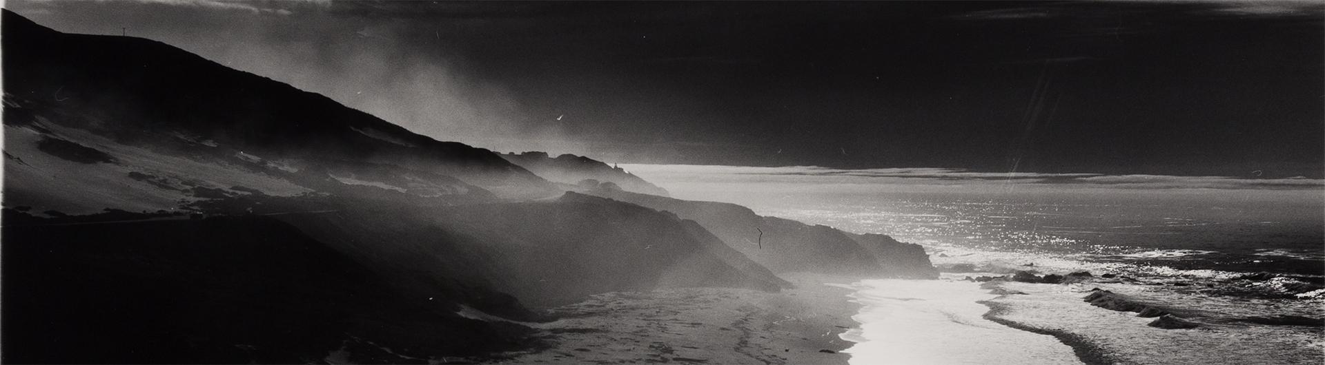 Shoreline black and white photograph